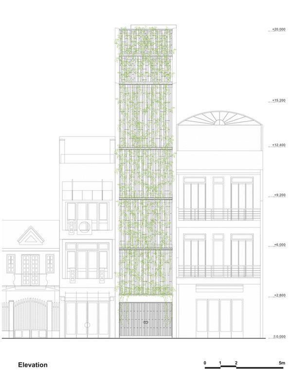 Toàn bộ ngôi nhà có 5 tầng, dưới cùng là tầng trệt, chủ yếu được tận dụng làm gara để xe, tầng 1 là không gian sinh hoạt chung, các tầng 2, 3, 4 là không gian riêng tư của các thành viên.