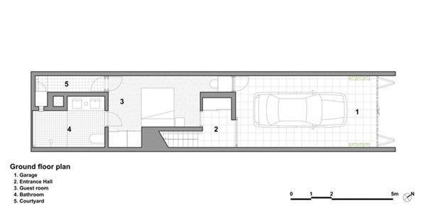 Thiết kế tầng trệt, chủ yếu là nhà để xe và khu vệ sinh
