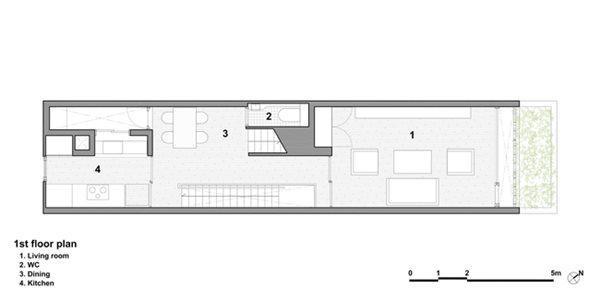 Tầng 2 là phòng khách và khu nhà bếp