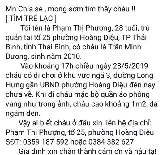 Thông tin cháu Dương mất tích được người thân chia sẻ lên mạng xã hội nhờ tìm kiếm. Ảnh: T.G