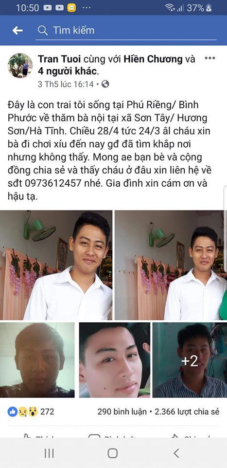 Người mẹ liên tục đăng tải thông tin nhờ cộng đồng mạng tìm kiếm con trai mất tích.