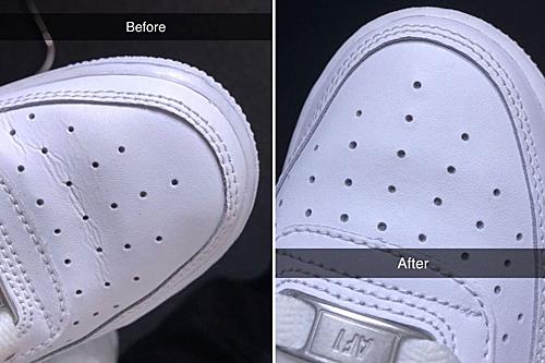 Ảnh đôi giày trước và sau khi dùng mẹo này. Ảnh: Mirror.