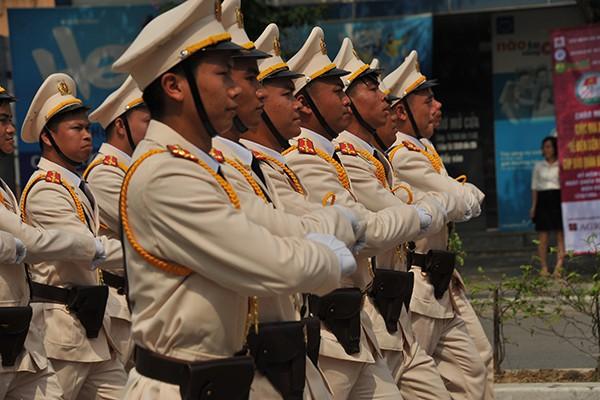 Đội hình của lực lượng cảnh sát giao thông tỉnh.