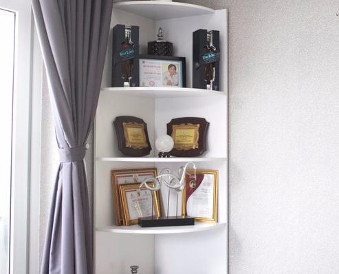 Rất nhiều giải thưởng và bằng khen khác được nghệ sĩ Kim Tử Long đặt trang trọng vào một góc của căn bếp.