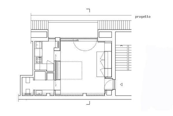 Bản vẽ thiết kế chia không gian căn hộ.