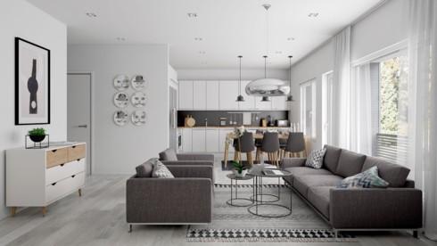 Căn hộ màu xám trổ nhiều cửa sổ để cung cấp ánh sáng cho cả phòng khách lẫn nhà bếp.