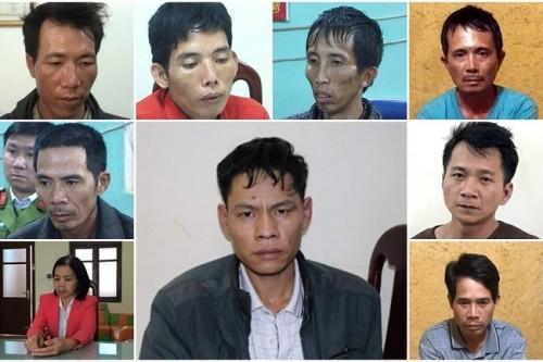 Các đối tượng trong vụ án sát hại nữ sinh viên giao gà C.M.D