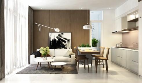 Cách bố trí theo thứ tự bếp, bàn ăn, và bàn ghế sofa từ cao tới thấp cho thấy sự tỉ mỉ của chủ nhân trong việc trang trí tổ ấm.