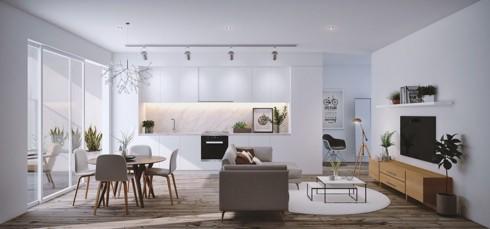 Mặc dù tất cả mọi thứ được kết hợp vào một phòng, việc sử dụng ghế sofa lưng thẳng và một bộ bàn ăn nhỏ giúp căn phòng trông vẫn rộng rãi.