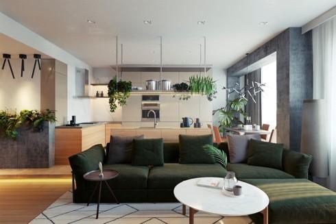 Chọn màu sắc khác nhau cho nội thất cũng là cách phân chia không gian mà không cần sử dụng tường ngăn.