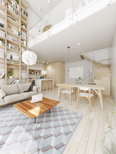 Bếp đặt cạnh cầu thang, cách phòng khách thông qua bộ bàn ăn gỗ nhẹ nhàng.