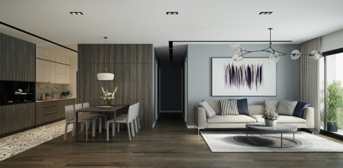 Không chỉ với những căn hô khiêm tốn về diện tích, ngay cả những căn hộ sang trọng nhiều chủ nhân cũng yêu thích lựa chọn cách bố trí bếp liền kề phòng khách để thuận tiện trong việc tiếp đãi khách khứa và bạn bè.