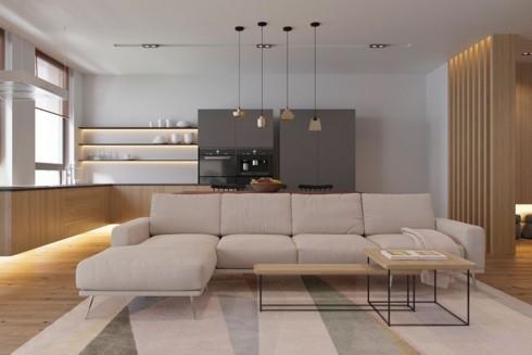Tủ bếp lắp đặt cách sàn một khoảng nhất định, cung cấp một không gian tuyệt vời để ánh sáng lan tỏa.