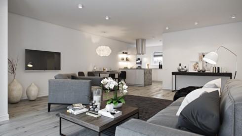 Các cấp độ màu xám tạo nên sự kết hơp nhẹ nhàng giữa phòng khách và nhà bếp.