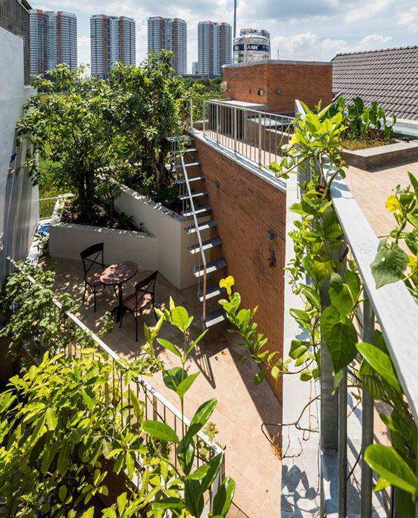 Tiếp nhận mong muốn này, các kiến trúc sư đã triển khai thiết kế, chia nhỏ không gian xanh thành nhiều khu vườn nhỏ nối tiếp nhau từ mặt sàn tới tận sân thượng.