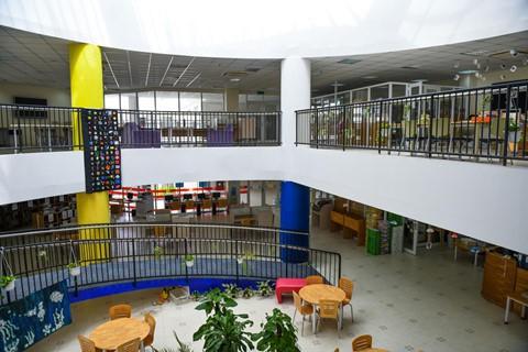 Khu vực thư viện với điểm nhấn là cầu thang không có bậc. Học sinh có thể ngồi đọc sách ở bậc thang này, nếu thích.
