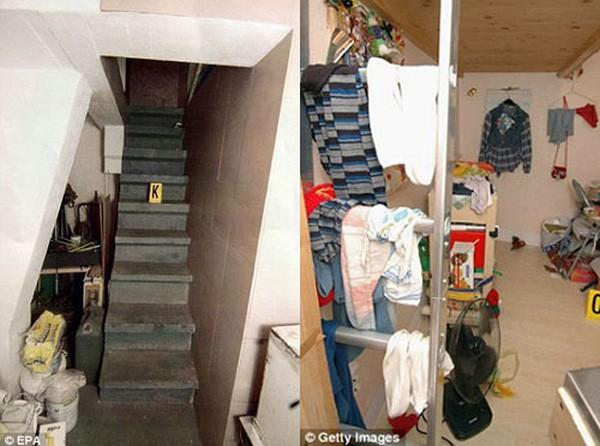 Căn phòng giam giữ Natascha sâu 2,5 mét. Có 2 cánh cửa ra vào nặng khoảng 150 kg và được ngụy trang kín kẽ.