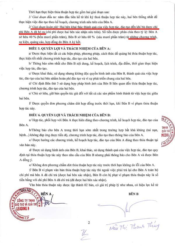 Hợp đồng giữa công ty ông bầu Phúc Nguyễn và Mâu Thủy.