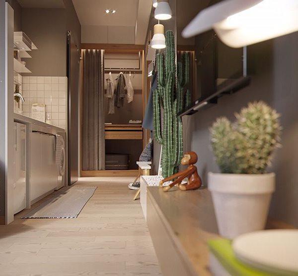 Nhà vệ sinh và bếp cũng bố trí khoa học, khoảng không rộng.
