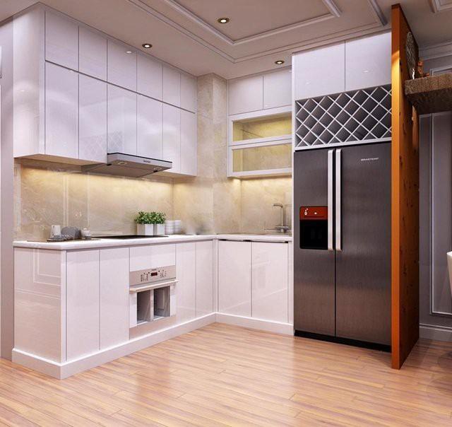 Khu vực bếp với gam màu rất nhẹ nhàng thuận tiện cho việc nấu nướng, dọn dẹp mà không lưu lại mùi thức ăn.