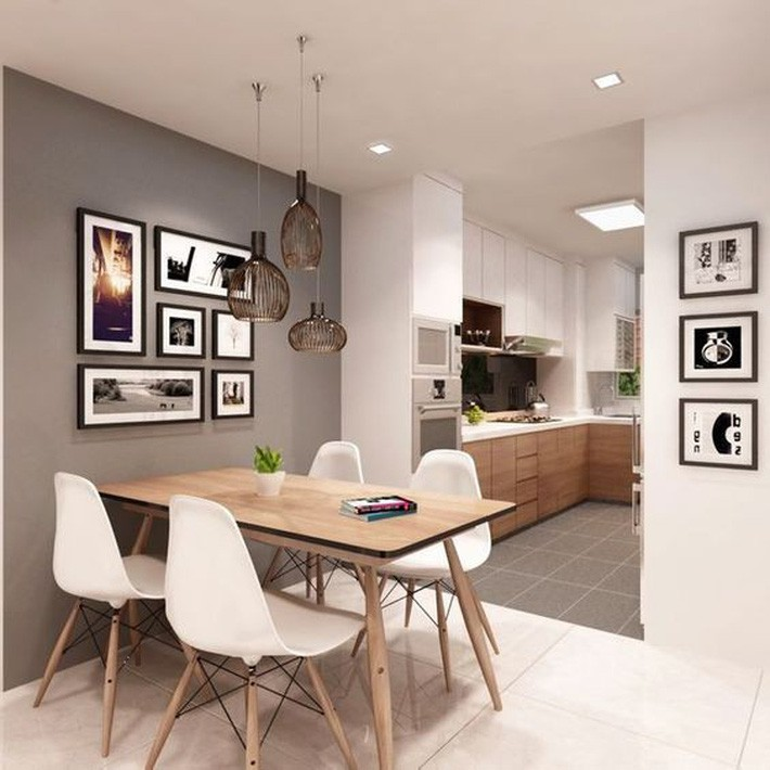 Bộ bàn ăn 4 ghế nhỏ gọn giúp tận dụng diện tích của căn nhà.