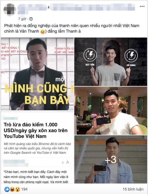Dân mạng xôn xao khi phát hiện Văn Thanh từng quảng cáo cho Binomo.