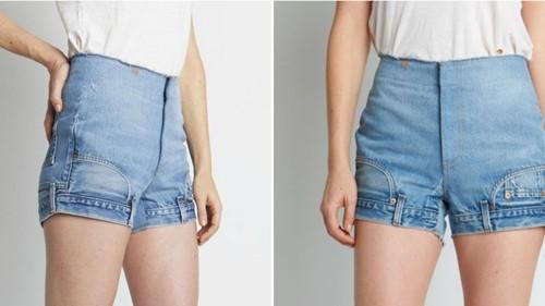 """Không có giá """"khủng"""" như quần của Alex Mullins nhưng quần short jeans của CIE cũng chả phải dạng vừa: gần 9 triệu đồng. Thiết kế lộn ngược của nó chắc chắn khiến nhiều người tưởng mình đang nhìn nhầm!"""