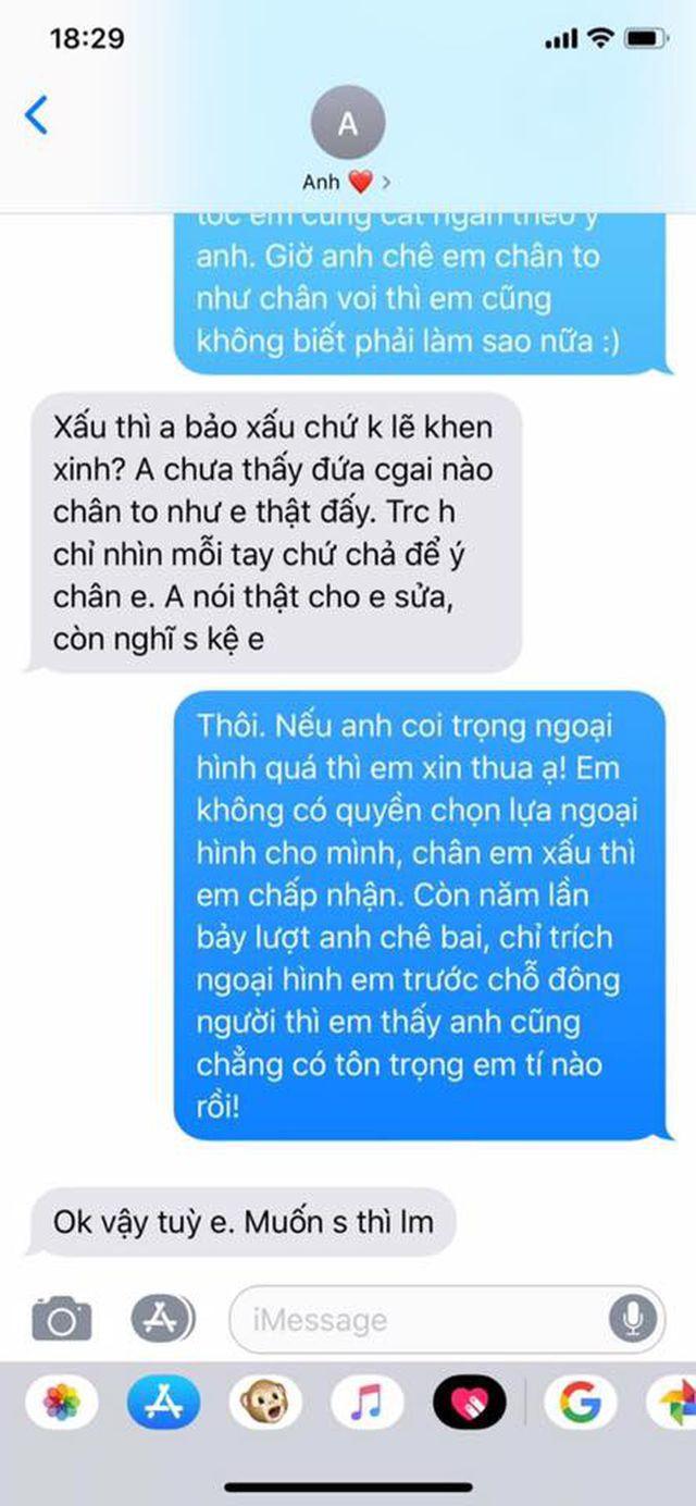 Những dòng tin nhắn gây bưc xúc cộng đồng mạng của chàng trai.