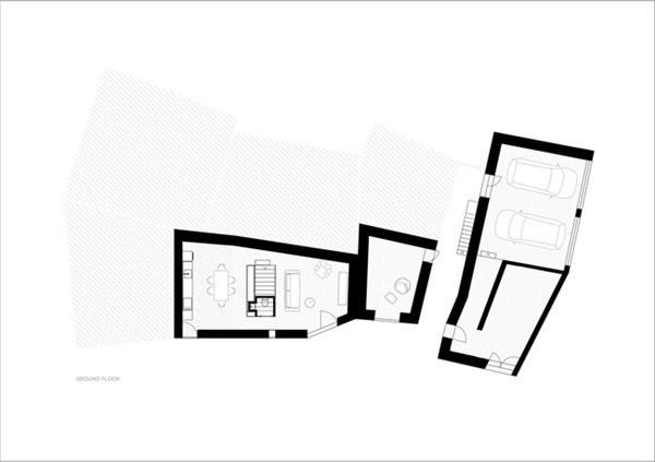 Sơ đồ thiết kế tổng quan của ngôi nhà và sơ đồ thiết kế tầng 1 của nhà chính