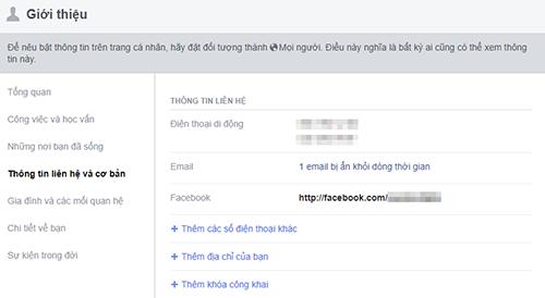 Người dùng Facebook có thể ẩn các thông tin cá nhân trong phần Giới thiệu.