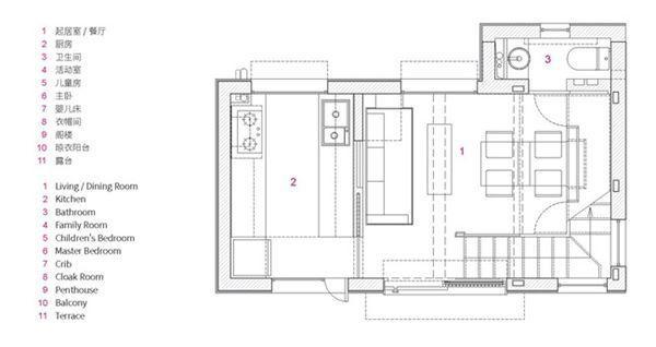 Sơ đồ thiết kế tấng 1 của ngôi nhà