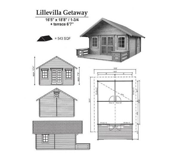 Nhà hoàn toàn bằng gỗ và được quảng cáo là kiểu nhà cabin, không phải là nơi ở chính thức.