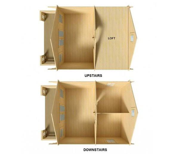 Sơ đồ thiết kế cho thấy ngôi nhà nhỏ này đơn giản, có 3 phòng ở tầng trệt và một phòng ngủ ở tầng áp mái.