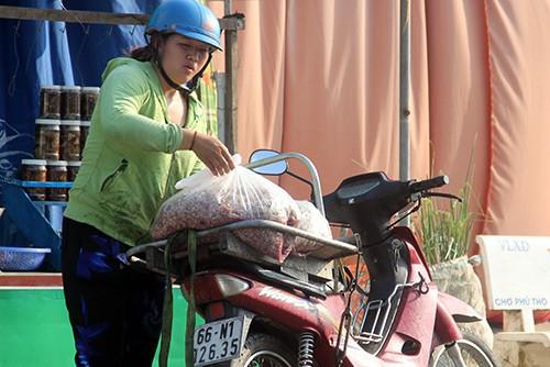 Một người thu gom vảy cá với giá 4.000 - 5.000 đồng mỗi kg. Ảnh: Cửu Long.