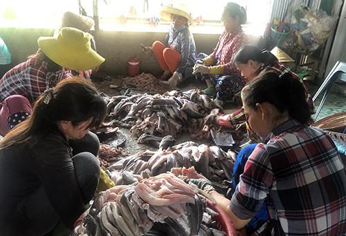 Làng khô Phú Thọ tạo việc làm cho nhiều lao động nông thôn. Ảnh: Cửu Long.