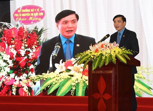 Ông Bùi Văn Cường - Uỷ viên TƯ Đảng, Chủ tịch Tổng Liên đoàn Lao động Việt Nam phát biểu tại buổi lễ.