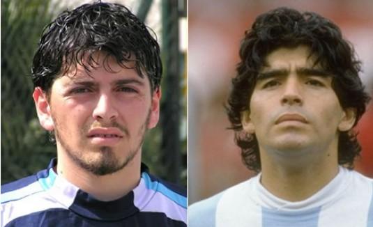 Sinagra (trái) - con trai của Maradona - chỉ chơi bóng tại các giải hạng thấp tại Italy.