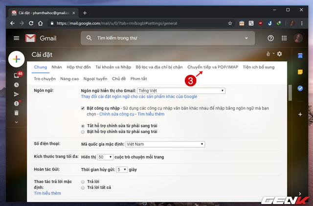 Bước 2: Giao diện trang thiết lập Gmail hiện ra, bạn hãy nhấp vào tab Chuyển tiếp và POP/IMAP.