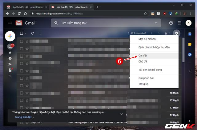 Bước 3: Giờ bạn hãy truy cập vào hộp thư Gmail mới và bạn hãy nhấp vào biểu tượng hình bánh răng, chọn Cài đặt.