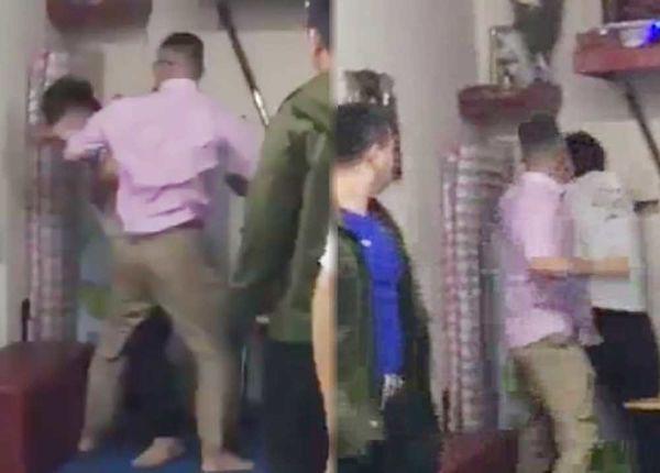 Hình ảnh cắt từ clip vụ võ sư Nam Nguyên Khánh bị đánh tại nhà riêng.