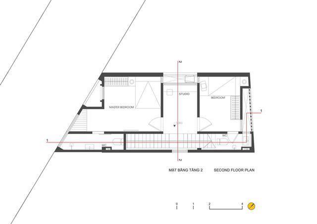 """Bản vẽ mặt bằng tầng 2. Căn nhà được tạp chí kiến trúc ArchDaily đánh giá cao bởi thiết kế không gian sống thoải mái, rộng rãi trên một mảnh đất """"khó""""."""