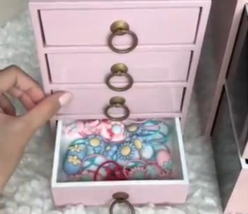 Tủ đồ phụ kiện của cô bé cũng được sơn màu sắc yêu thích này