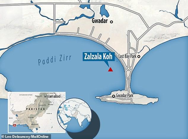 Vị trí được xác định là của đảo Zalzala Koh trên Ấn Độ Dương (Ảnh: Daily Mail)