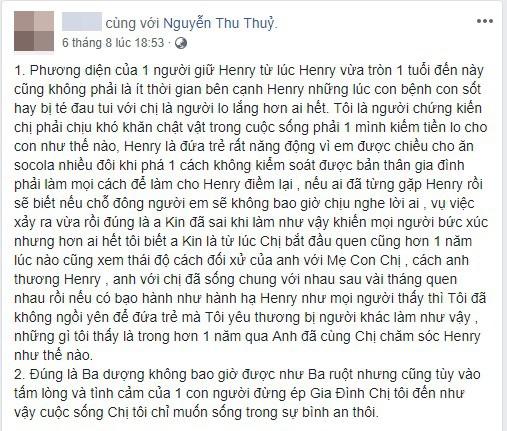 Bảo mẫu của con trai Thu Thủy lên tiếng về Kin Nguyễn hậu lùm xùm cấu tay: Ba dượng không bao giờ được như ba ruột - Ảnh 1.