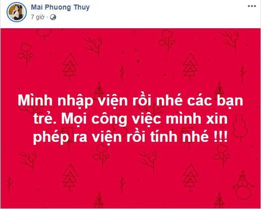 Hoa hậu Mai Phương Thúy phải nhập viện khẩn cấp khiến người hâm mộ lo lắng - Ảnh 1.