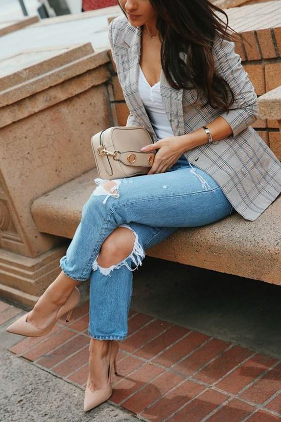 Phối áo blazer cùng quần jeans - Ảnh 5.
