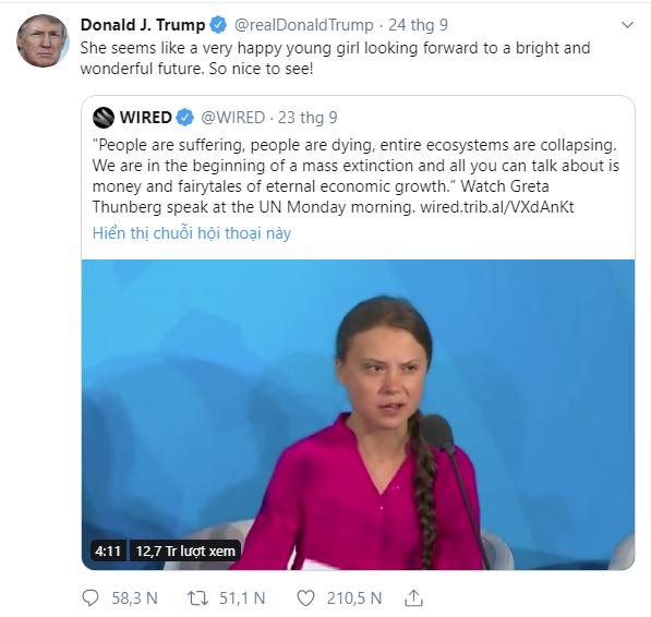 Tổng thống Trump mỉa mai nhà hoạt động môi trường nhí sau bài phát biểu quát mắng các lãnh đạo thế giới đang gây bão truyền thông quốc tế - Ảnh 2.