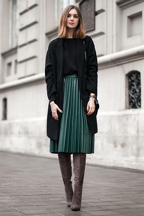 Phối các kiểu áo khoác với chân váy midi - Ảnh 3.