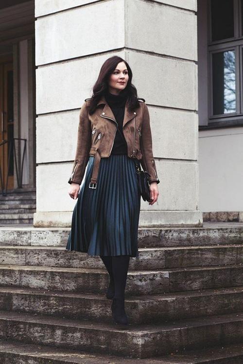 Phối các kiểu áo khoác với chân váy midi - Ảnh 8.
