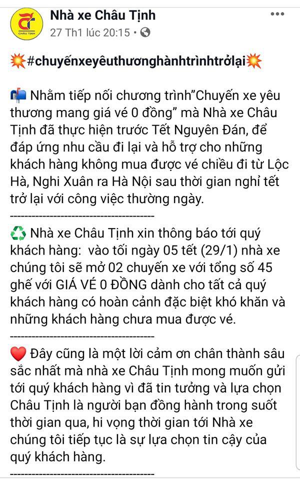 """""""Chuyến xe 0 đồng"""" đưa sinh viên, bệnh nhân nghèo ở Hà Tĩnh trở lại Hà Nội sau Tết - Ảnh 1."""